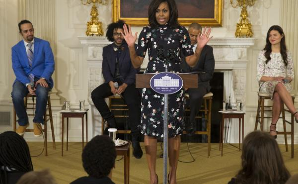 """Michelle Obama speaks during a 2016 event at the White House with the cast of the Broadway play """"Hamilton."""""""