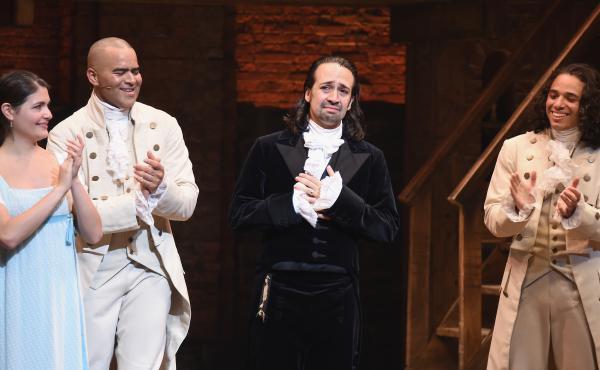 Phillipa Soo (from left), Christopher Jackson, Lin-Manuel Miranda and Anthony Ramos attend Miranda's final performance of Hamilton on Broadway, on July 9, 2016.