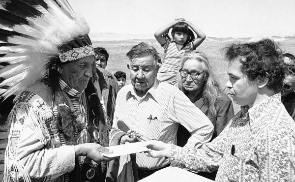 Hank Adams, right, died Dec. 21 at the age of 77. Adams fought for Native American treaty rights throughout his life.