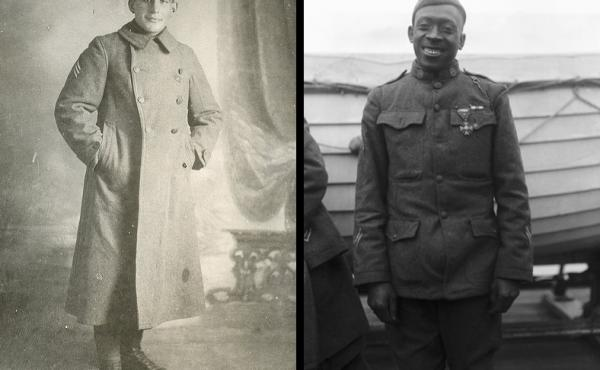 (Left) Sgt. William Shemin distinguished himself with bravery under fire during World War I. (Right) Sgt. Henry Johnson of the 369th Infantry Regiment was awarded the French Croix de Guerre for bravery while outnumbered during a battle with German soldier