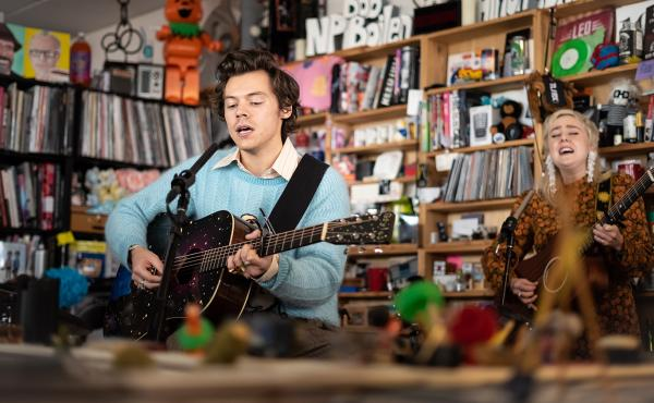 Harry Styles plays a Tiny Desk Concert (Max Posner/NPR).