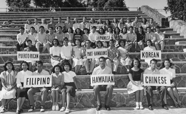 University of Hawaii students sit together to show the ethnic differences of Hawaii's population in 1948.