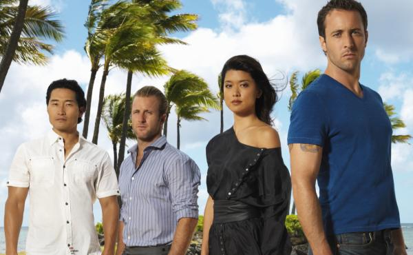 Actors Daniel Dae Kim (far left) and Grace Park (second from right) appeared alongside Alex O'Loughlin (far right) and Scott Caan in CBS's Hawaii Five-0.