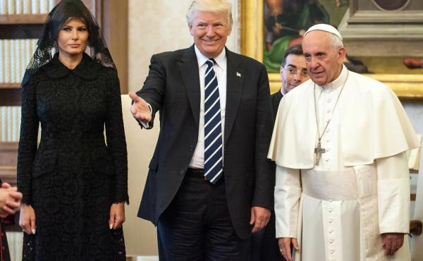 President Trump and first lady Melania Trump meet with Pope Francis on Wednesday at the Apostolic Palace in Vatican City.