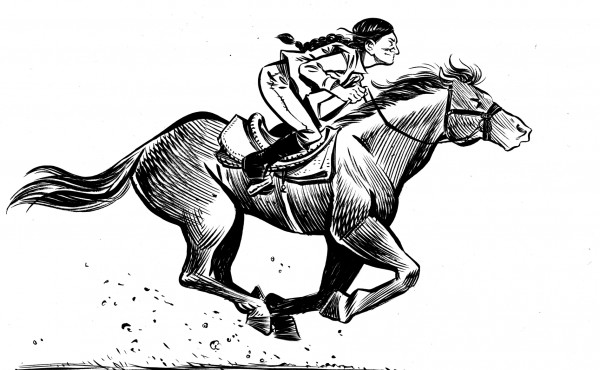 The graphic novel Grand Theft Horse tells the story of a trainer who rescues a horse from its villainous owner. Based on actual events, journalist Taylor Haney set out to learn how much of the story is true. Above, a scene from the novel.