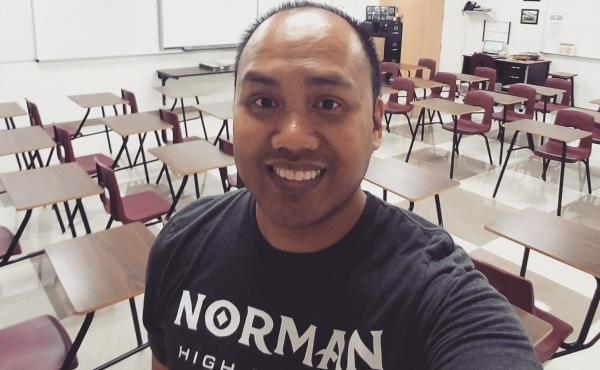 """Setting up his new classroom in Texas this school year, Shawn Sheehan took a selfie for social media to wish his home state well. """"Wishing all my Norman and #oklaed fam a great school year! Representing y'all as I set up my classroom in Lewisville, TX!"""""""