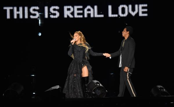 Beyoncé and Jay-Z on stage in Glasgow during their On The Run II tour on June 9, one week before they released the collaborative album Everything Is Love.