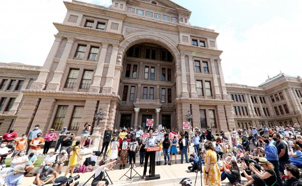 """""""This is a preventative measure for us,"""" state Rep. Travis Clardy says of the Republican-backed Senate Bill 7, which sought to tighten voting rules, citing a need to prevent fraud. Here, opponents of the bill hold a rally last month at the Texas Capitol i"""
