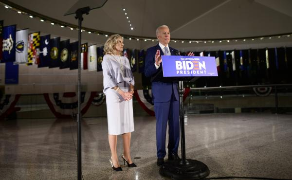 Democratic Presidential candidate former Vice President Joe Biden addressed the media and a small group of supporters with his wife Dr. Jill Biden as results came in for Tuesday's primaries. Biden canceled a planned rally because of concerns about the cor