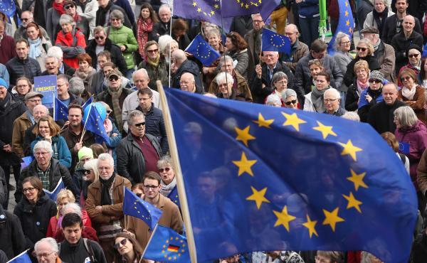Pro-European Union demonstrators march in Berlin on March 31.