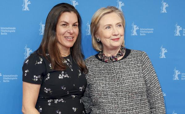 Filmmaker Nanette Burstein and Hillary Clinton pose at the Hillary premiere during the 70th Berlinale International Film Festival on Feb. 24, 2020 in Berlin.