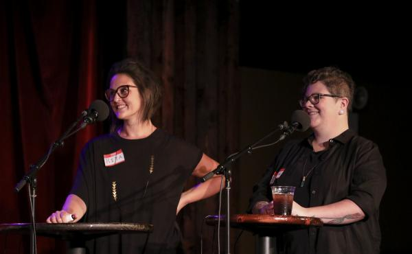 Contestants Rita Mikita and Dese'Rae Stage appear on Ask Me Another at the Bell House in Brooklyn, New York.