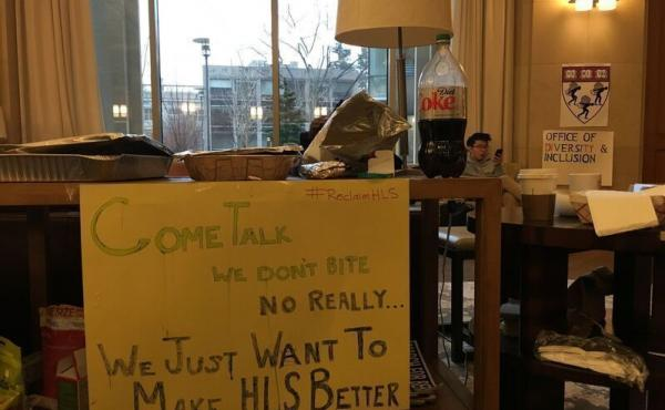 A group of students calling themselves Reclaim Harvard Law School has been occupying a student center for weeks, demanding greater attention to racial issues, including more diversity among the faculty.