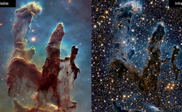 Images of the Eagle Nebula show the Hubble Space Telescope's ability to capture pictures in both visible (left) and infrared (right) light. NASA is celebrating the successful restart of the telescope's payload computer, opening the door to more observatio