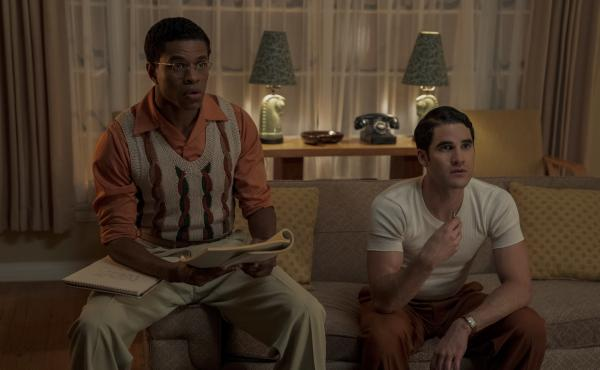 Screenwriter Archie (Jeremy Pope, left) and wannabe director Raymond (Darren Criss) run lines in the Netflix miniseries Hollywood.