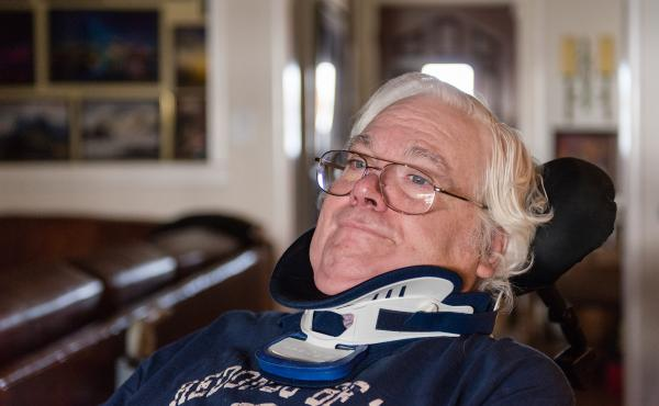 Colin Campbell, shown last month in his home near Los Angeles, was diagnosed with Lou Gehrig's disease — ALS — eight years ago. He gets Medicare because of his disability, but was incorrectly told by several agencies that he couldn't use it for home c