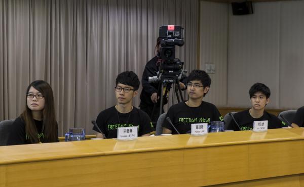 Hong Kong Federation of Students council members attend a meeting with senior Hong Kong government officials in Hong Kong on Tuesday.