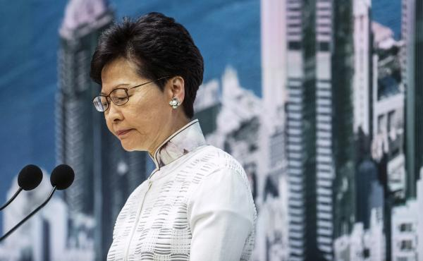 Carrie Lam, Hong Kong's chief executive, pauses during a news conference in Hong Kong on Saturday. The Hong Kong government will suspend consideration of a China-backed extradition bill that triggered massive protests.
