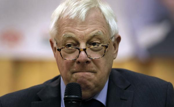 Chris Patten, Hong Kong's last British governor, listens to questions during a dialogue session with students at Hong Kong University in November.