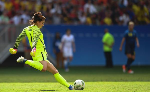 U.S. goalkeeper Hope Solo during the quarterfinal match against Sweden at the 2016 Rio Olympics, the last match in which she played. Solo announced Thursday she is running for the U.S. Soccer presidency.
