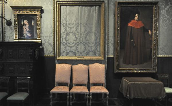 The empty frame (center) from which thieves cut Rembrandt's Christ in the Storm on the Sea of Galilee remains on display at the Isabella Stewart Gardner Museum in Boston in 2010. The painting was one of more than a dozen works stolen from the museum in 19