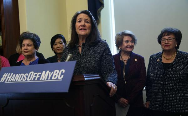 At an October news conference, the Congressional Pro-Choice Caucus called on President Trump to reverse the administration's moves to limit women's access to birth control. Rep. Diana DeGette, D-Colo., spoke at the lectern during the event on Capitol Hill