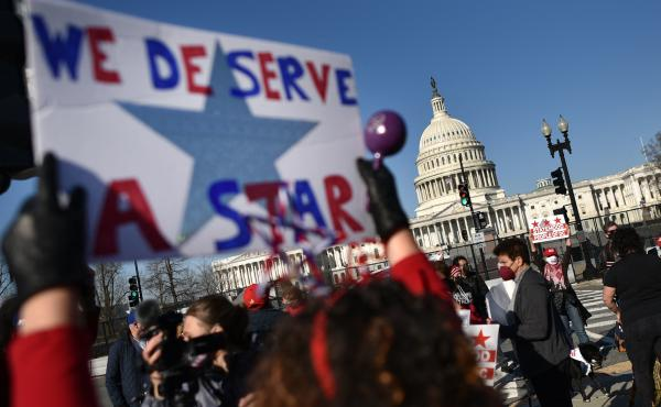Statehood activists took part in a rally in support of D.C. statehood near the US. Capitol in March. One month later, the House passed a bill that would make D.C. the nation's 51st state.