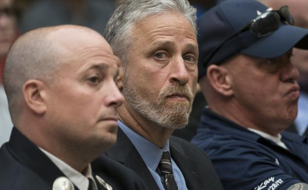 TV personality Jon Stewart at a hearing by the House Judiciary Committee as it considers permanent authorization of the Victim Compensation Fund on Capitol Hill in Washington.