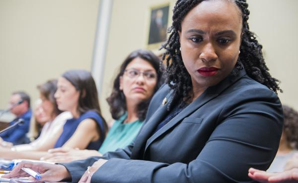 Democrats on the House Committee on Oversight and Government Reform are examining how states regulate abortion clinics. From right are Reps. Ayanna Pressley, D-Mass., Rashida Tlaib, D-Mich., and Alexandria Ocasio-Cortez, D-N.Y.