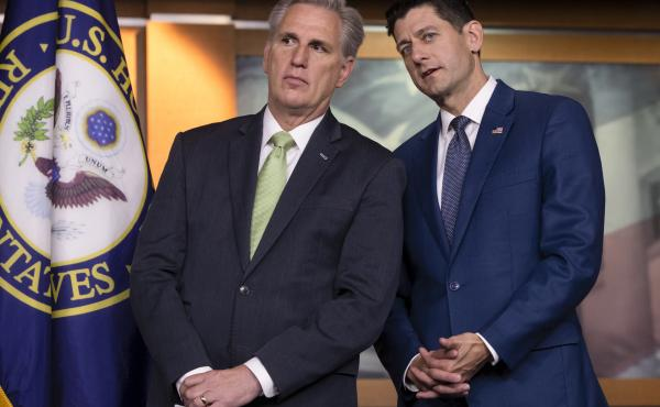 """House Majority Leader Kevin McCarthy, R-Calif., and House Speaker Paul Ryan, R-Wis., continue to try to wrangle votes for a """"consensus"""" immigration bill."""