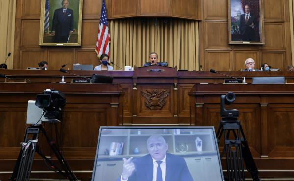 Jeff Bezos, then the CEO of Amazon, testifies in Congress by videoconference on July 29, 2020.