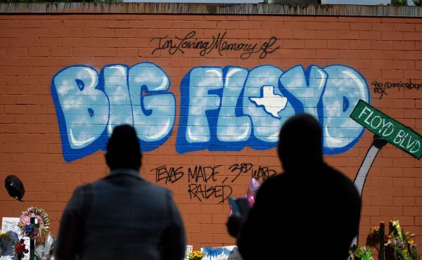 A mural memorializes George Floyd is his hometown of Houston, where he was known as Big Floyd, and part of the city's hugely influential Screwed Up Click rap collective.