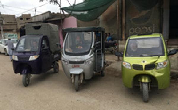 "The company is called Roshni Rides. In the pilot, refugees paid a fixed fee for a ride to town in one of these three motorized rickshaws. Roshni is a name that means ""light"" in Iran and India."