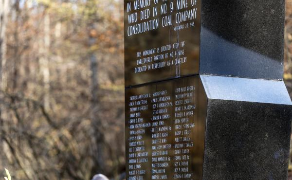 The Farmington Mine Disaster memorial in Mannington, W.Va., bears the names of the 78 men killed in the explosion on Nov. 20, 1968.