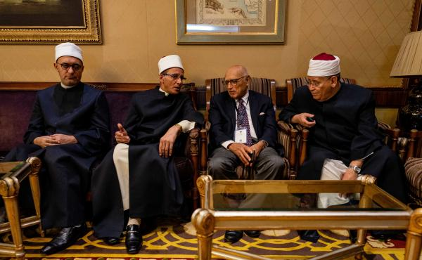 Saleh Abbas, deputy grand imam of Egypt's Al-Azhar University, is second from the left in this photo of members of the university delegation to the African Summit on Female Genital Mutilation and Child Marriages.
