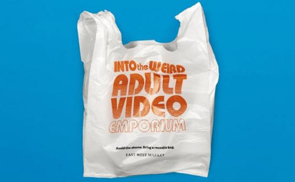East West Market in Vancouver, British Columbia, offered single-use plastic bags with embarrassing slogans to encourage customers to utilize reusable bags.