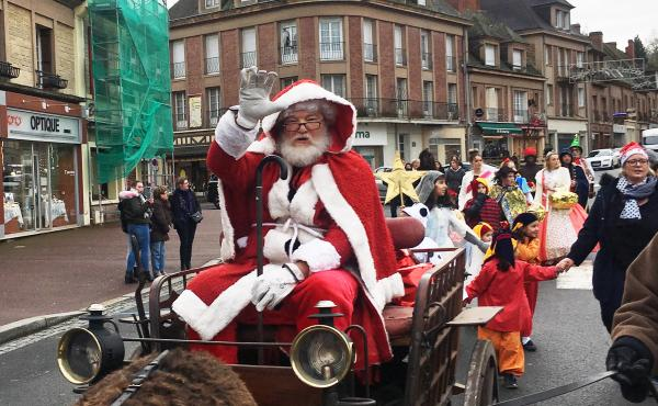 Retired American photographer Tom Haley, 66, portrays Santa during a pageant in Normandy.