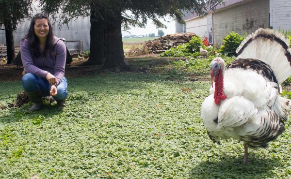 Farmer Wendy Johnson markets hogs, chickens, eggs and seasonal turkeys. She also grows organic row crops at Joia Food Farm near Charles City, Iowa.