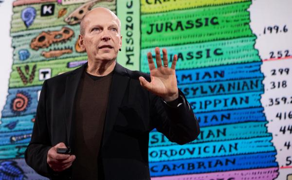 Paleontologist Kenneth Lacovara speaks at TED in 2016.