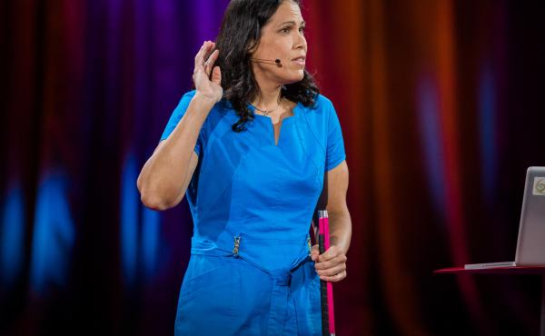 """Astronomer Wanda Diaz Merced talks about """"sonification"""" on the TED stage."""