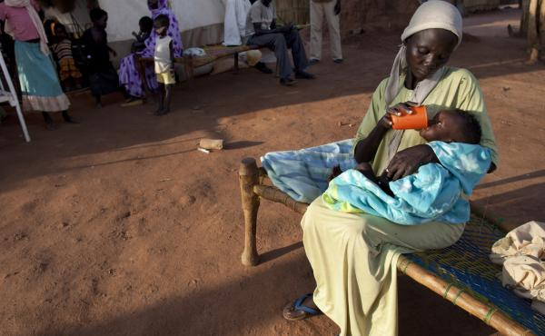 A mother feeds her new baby at the Yida refugee camp in South Sudan, which has the highest maternal mortality rate in the world. About 1 in 7 women in South Sudan die from causes related to pregnancy.
