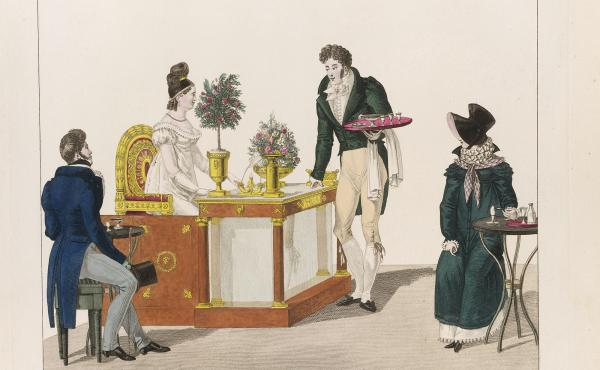 La Belle Limonadiere, hand coloured etching (1816). Lemonade was ubiquitous in mid-17th century Paris. Where the limonadiers went, piles of spent lemon peels followed. As rats nibbled on the peels, they killed off plague-infected fleas, Tom Nealon argues