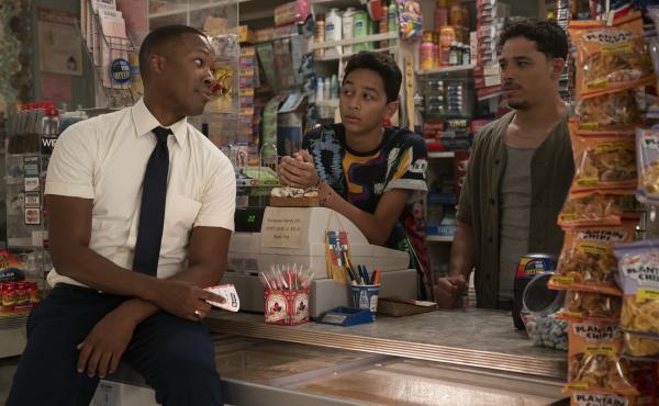 Benny (Corey Hawkins), Sonny (Gregory Diaz IV) and Usnavi (Anthony Ramos) chat in Usnavi's Washington Heights bodega.