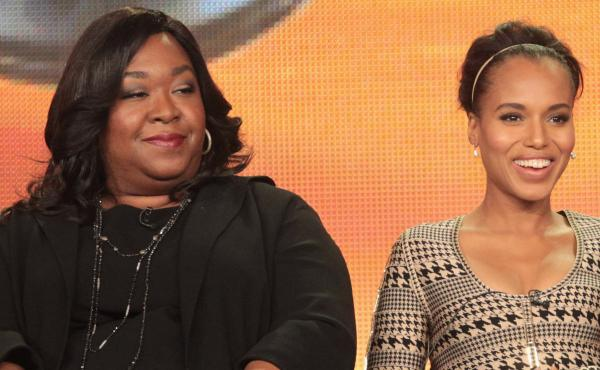 Shonda Rhimes (left) with Scandal star Kerry Washington at a 2012 press conference.