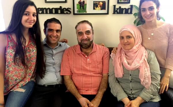 Almothana Alhamoud (second from left) with his family in Chicago. From left to right are his sister, Fatina; their father, Abdel Bari; their mother, Alia; and his other sister, Rowan. Alhamoud earned a computer engineering degree in Syria, but when he cam