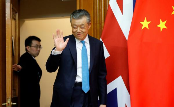 China's ambassador to Britain Liu Xiaoming arrives at the Chinese Embassy in London in February for a press conference on the coronavirus outbreak in Wuhan.