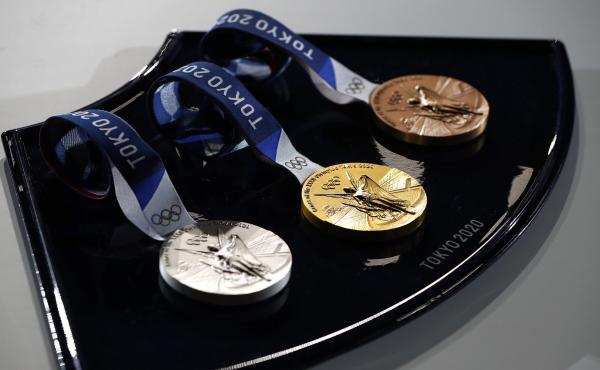 A medal tray that will be used during the victory ceremonies at the Tokyo Olympic and Paralympic Games.