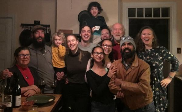 Jasmine Surti (far right) and three generations of her family celebrating Thanksgiving in Philadelphia in 2018. From left, front: Louise Aucott, Gabe Aucott with Juniper Chamberlin, Rachel Aucott, Sandhya Surti, Anjali Surti, Hemant Surti, Jasmine Surti 2
