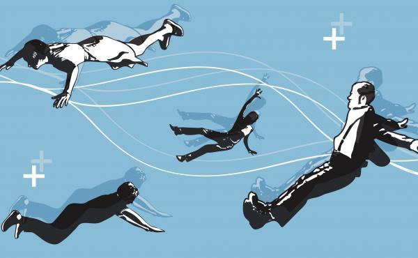 Illustration of people falling
