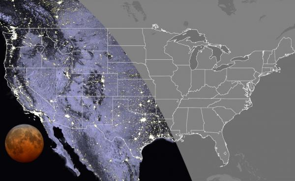 This map shows the visibility of the total lunar eclipse in the contiguous U.S. at 7:11 a.m. Eastern time this Wednesday. The total lunar eclipse will be visible everywhere in the Pacific and Mountain time zones, as well as in Texas, Oklahoma, western Kan